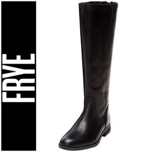 FRYE Jolie Tall Black Leather Boots with Back Zip